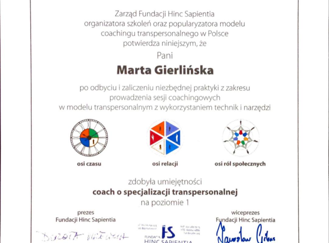 Coaching Transpersonalny I poziom